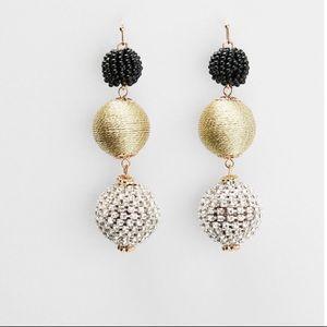 Express Earrings - Fabric Linear Drop Ball Earring